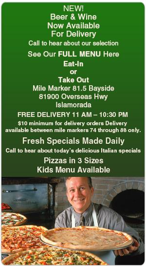 Pizza Menu - Islamorada, FL - Tower of Pizza